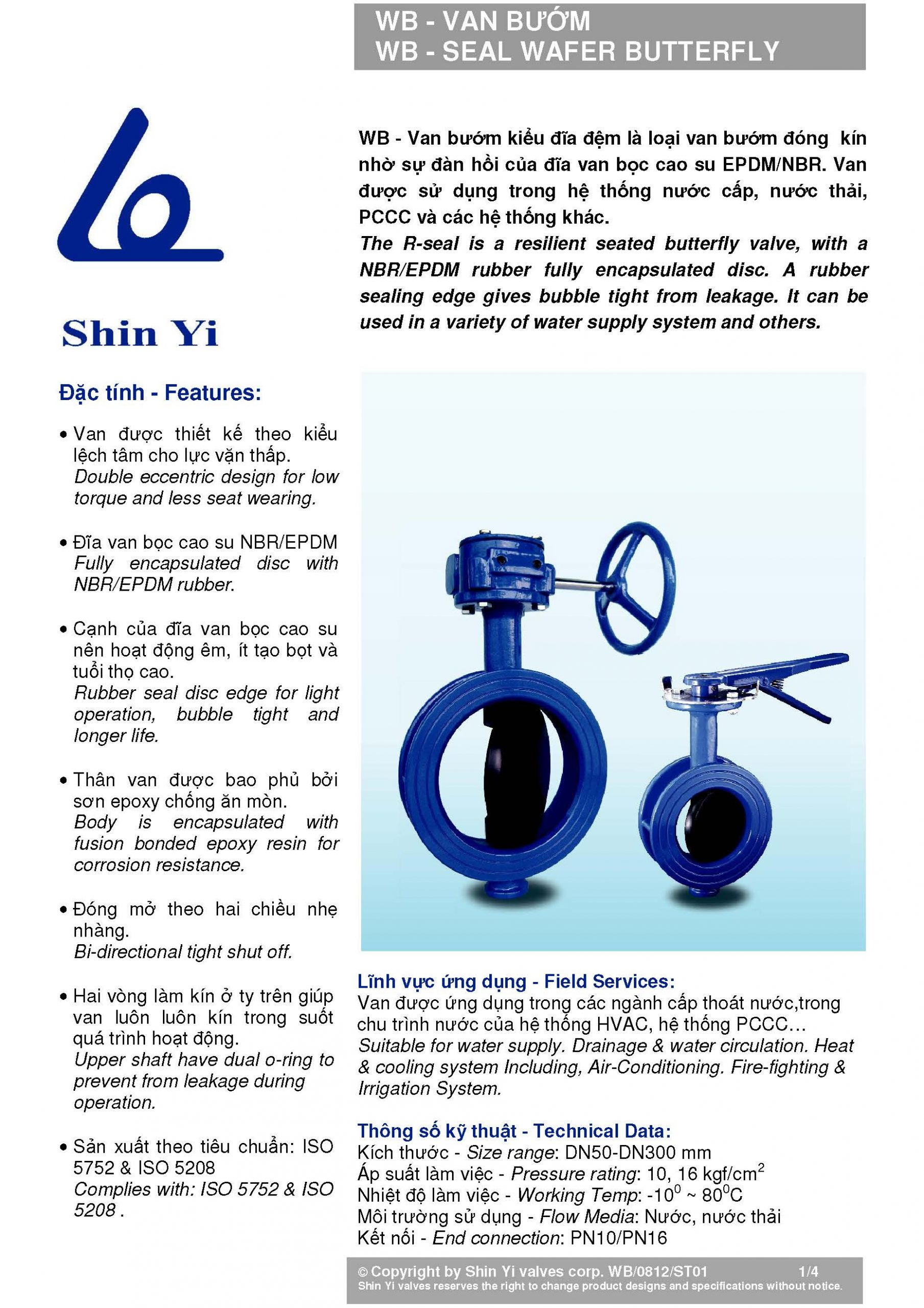 thông số kỹ thuật van bướm tay quay, tay gạt Shin Yi – Đài Loan (Butterfly valve)