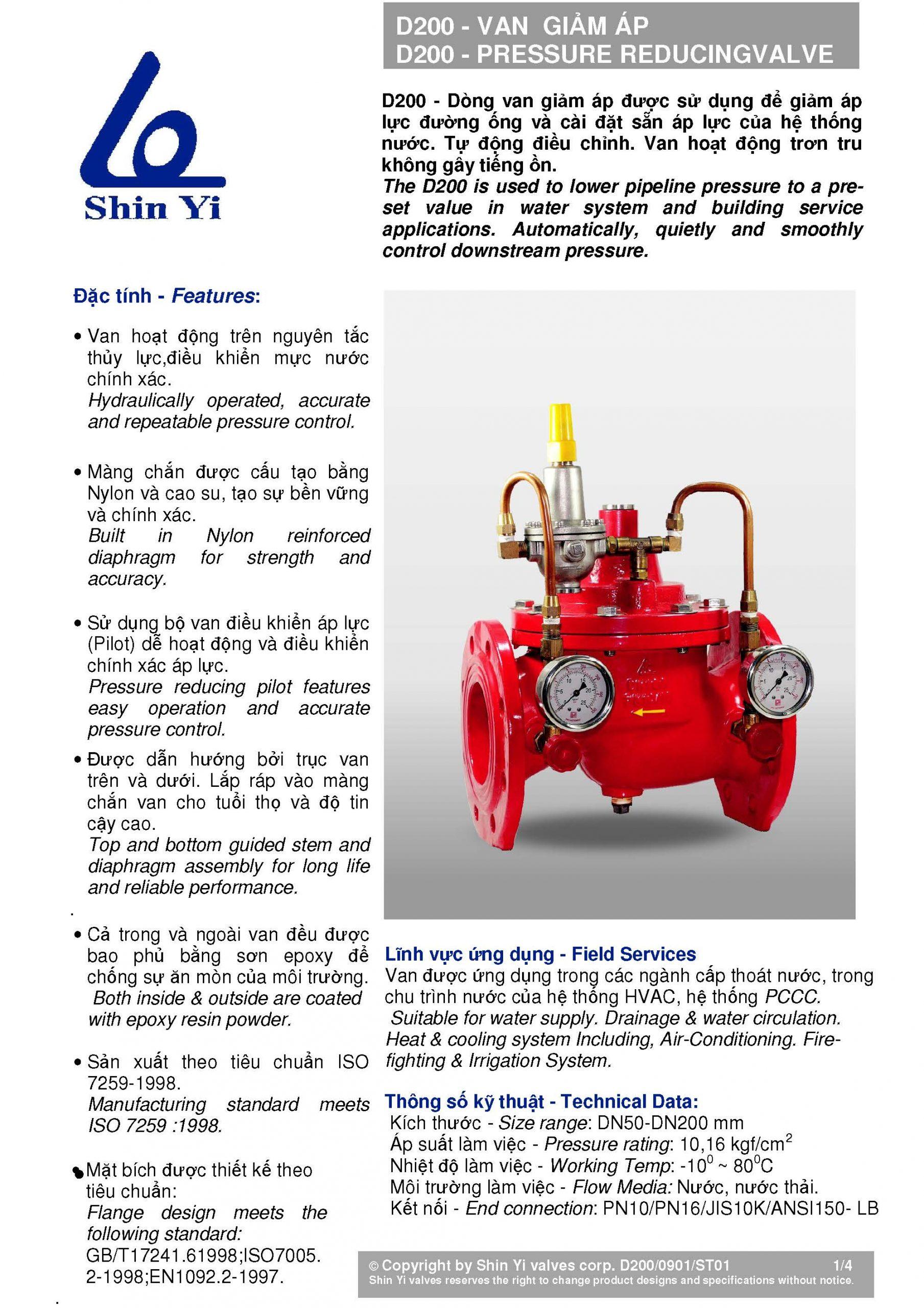 đặc tính Van giảm áp Shin Yi – Taiwan (pressure reducing valve)