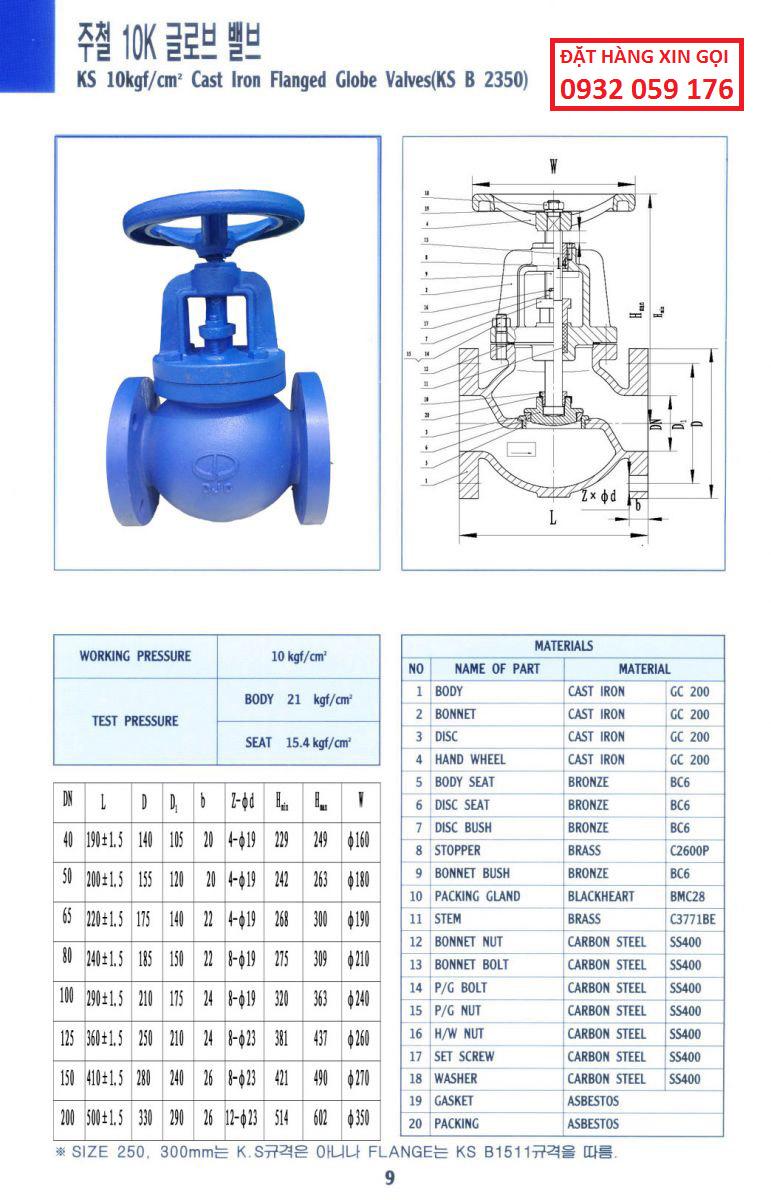 thông số kỹ thuật van cầu gang (Globe valve) – Dae Jin, Korea