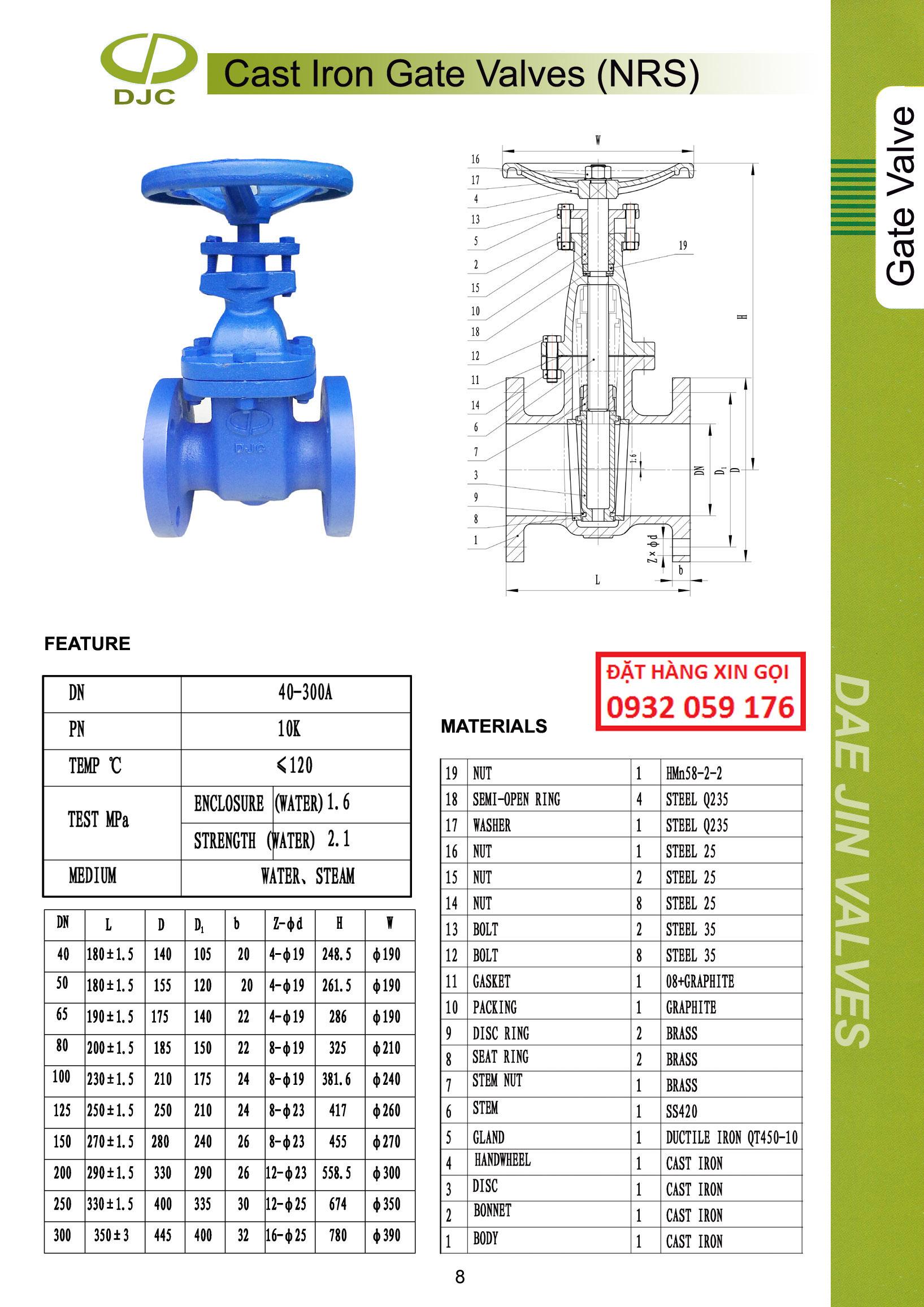 thông số kỹ thuật van cửa ty chìm, cast iron gate valves Daejin (Korea)